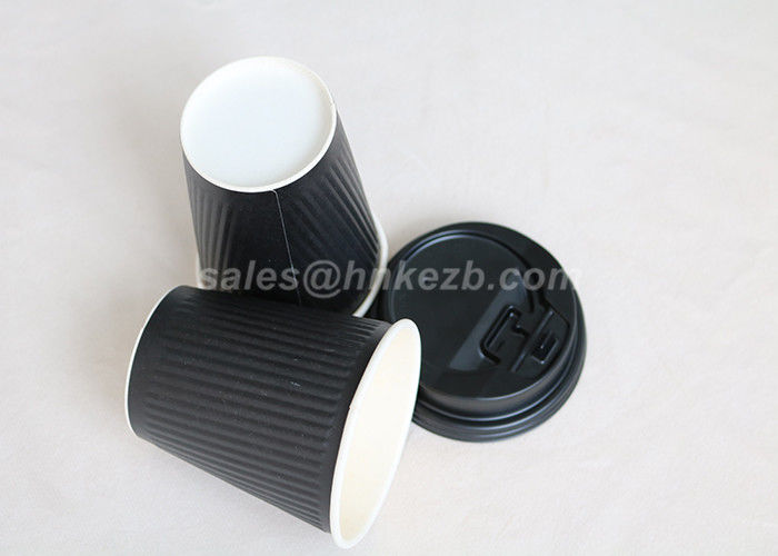 280ml Black Ripple Cups Ripple Wall Biodegradable Paper Cups Double Wall